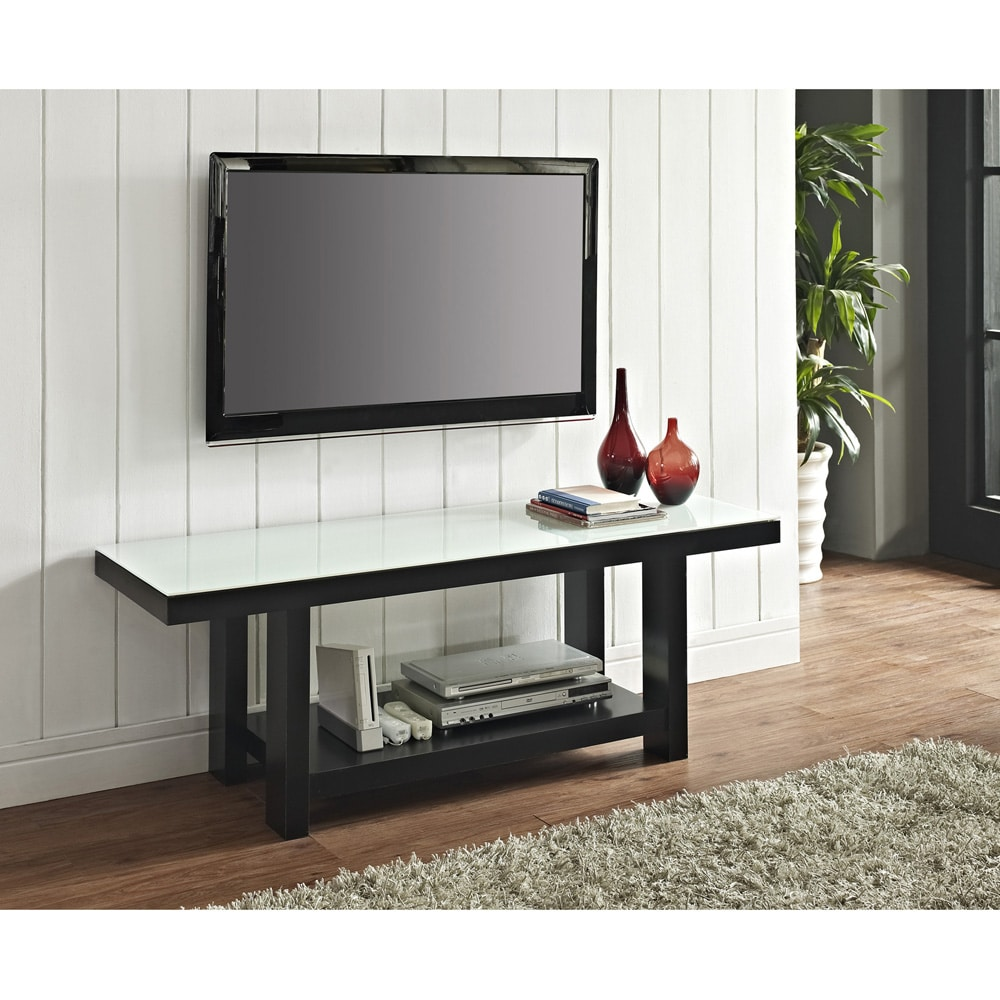 58-inch Black Wood White Glass TV Stand at Sears.com