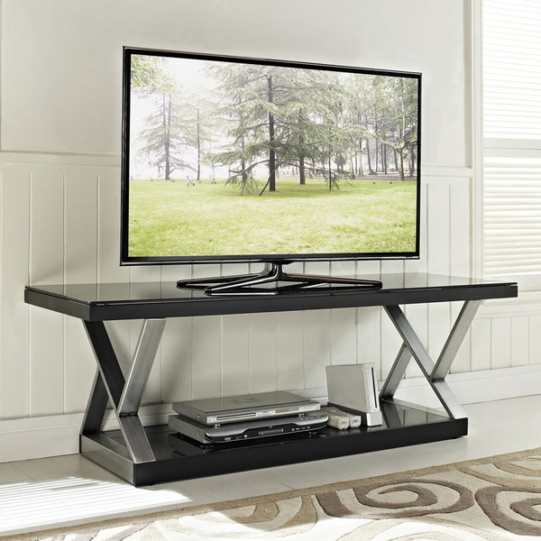 Industrial Black Glass 60-inch TV Stand