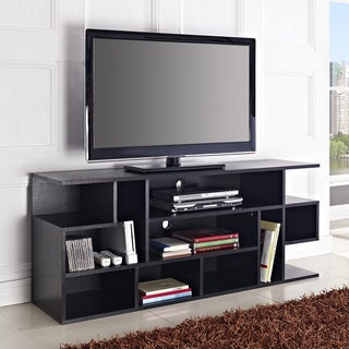 Media Storage Black Wood 60-inch TV Stand