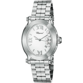 Chopard Women's 'Happy Sport Oval' White Diamond Dial Steel Watch