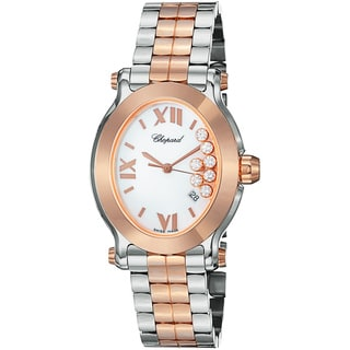 Chopard Women's 'Happy Sport Oval' Diamond Dial Two Tone Quartz Watch