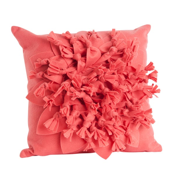 Coral Color Flower Design 17-inch Felt Throw Pillow