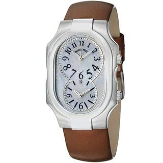 Philip Stein Women's 'Signature' Dual Time Brown Satin Strap Watch