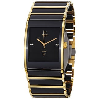 Rado Men's 'Integral' Black Dial Ceramic Goldtone Automatic Watch