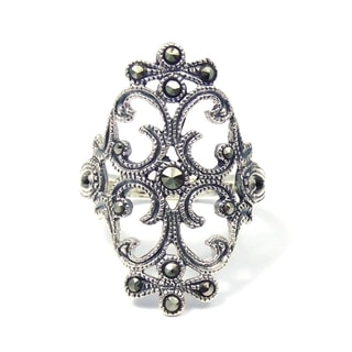 Swirl Marcasite Victorian Style Silver Ring (Thailand)