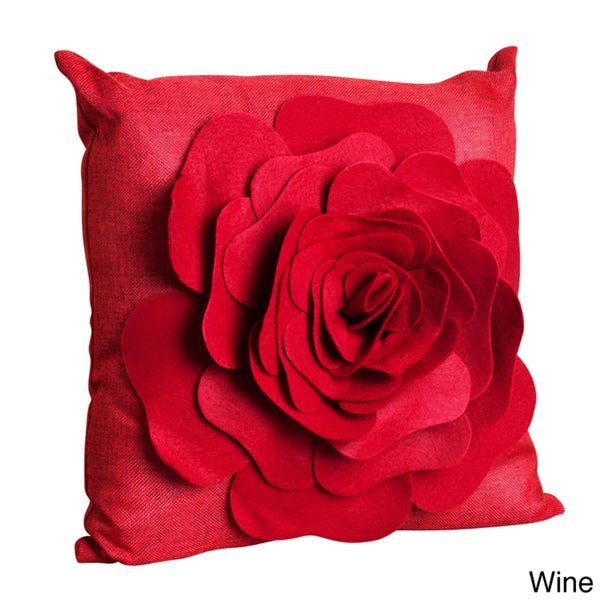 Saro Flower Design 17-inch Throw Pillow