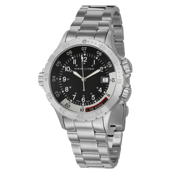Hamilton Men's 'Khaki Navy' Stainless Steel Dual Time Zone Watch