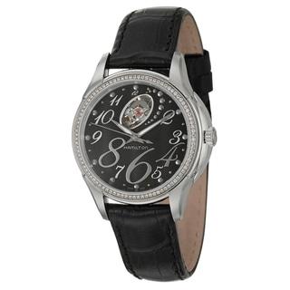 Hamilton Women's 'Jazzmaster' Black-Leather Stainless-Steel Swiss Automatic Watch