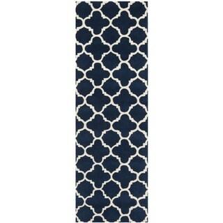 "Handmade Moroccan Dark Blue Wool Runner Rug (2'3"" x 7')"