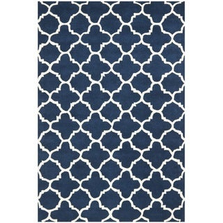 Handmade Moroccan Dark Blue Wool Area Rug (4' x 6')