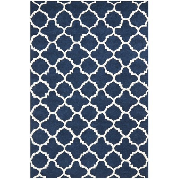 Safavieh Handmade Moroccan Dark Blue Wool Area Rug (4' x 6')
