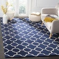 Handmade Moroccan Dark Blue Wool Area Rug (3' x 5')