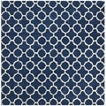Handmade Moroccan Dark Blue Wool Area Rug (7' Square)
