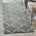 Handmade Moroccan Dark Grey Indoor Wool Rug (2'3 x 7')