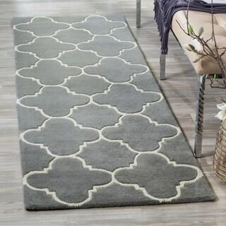 Safavieh Handmade Moroccan Chatham Dark Grey Wool Rug (2'3 x 9')