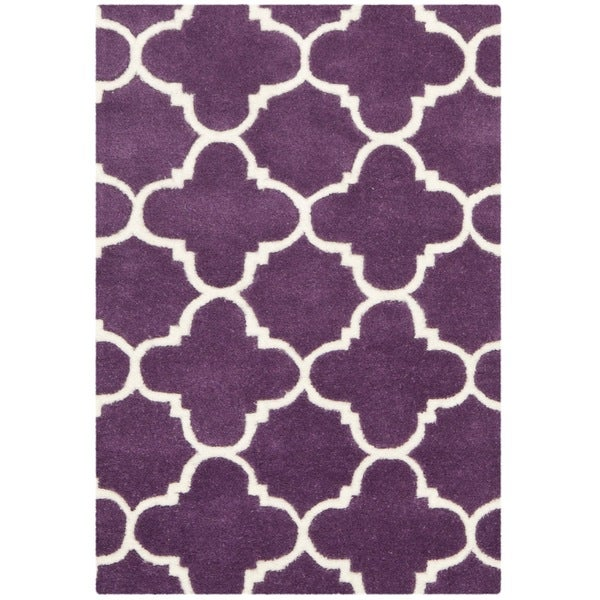 Safavieh Handmade Moroccan Purple Geometric Pattern Wool Rug (2' x 3')
