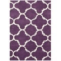 Handmade Moroccan Purple Geometric Pattern Wool Rug (2' x 3')