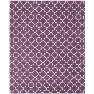 Handmade Moroccan Purple Indoor Wool Rug (8' x 10')