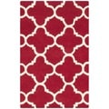 Contemporary Handmade Moroccan Red Wool Rug (2' x 3')