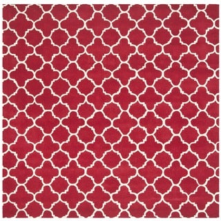Handmade Moroccan Red 100 Percent Wool Rug (7' Square)
