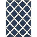Durable Handmade Moroccan Dark Blue Wool Rug (2' x 3')