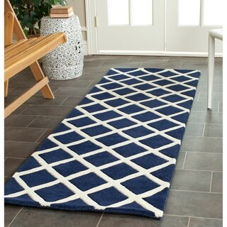 Contemporary Safavieh Handmade Moroccan Chatham Dark Blue Wool Rug (2'3 x 7')