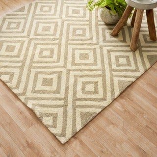Hand-hooked Indoor/ Outdoor Capri Grey/ Ivory Area Rug (3'6 x 5'6)