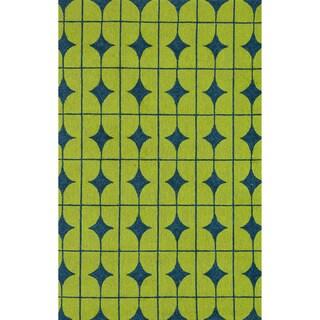 Hand-hooked Indoor/ Outdoor Capri Lime Rug (3'6 x 5'6)