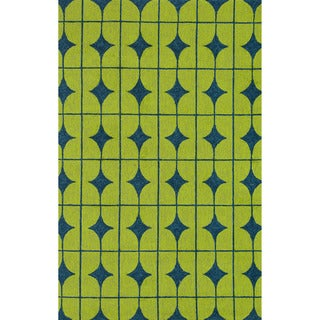 Hand-hooked Indoor/ Outdoor Capri Lime Rug (5' x 7'6)