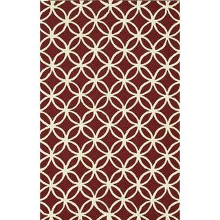 Hand-hooked Indoor/ Outdoor Capri Red Rug (3'6 x 5'6)