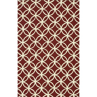 Hand-hooked Indoor/ Outdoor Capri Red Rug (7'6 x 9'6)