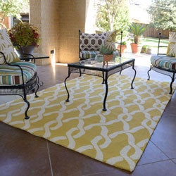 Hand-hooked Indoor/ Outdoor Capri Gold Rug (9'3 x 13)