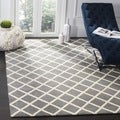 Contemporary Handmade Moroccan Dark-Gray Wool Rug (3' x 5')