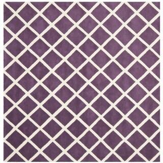 Safavieh Handmade Moroccan Purple Crisscross Pattern Wool Rug (7' Square)