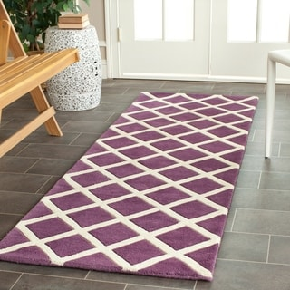 Safavieh Handmade Moroccan Chatham Purple Wool Runner Rug (2'3 x 7')