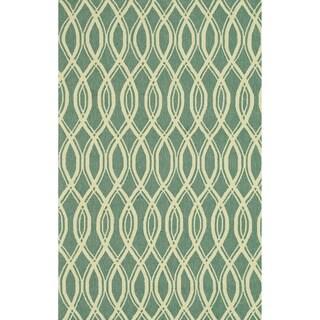 Hand-hooked Indoor/ Outdoor Capri Turquoise Rug (9'3 x 13)