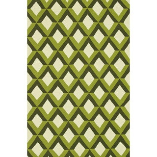 Hand-hooked Indoor/ Outdoor Capri Green Trellis Rug (7'6 x 9'6)