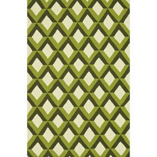 Hand-hooked Indoor/ Outdoor Capri Green Trellis Rug (7'6 x 9'6)