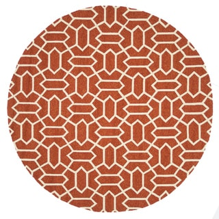 Handmade Indoor/ Outdoor Capri Rust Rug (7'10 Round)