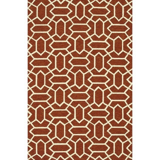 Hand-hooked Indoor/ Outdoor Capri Rust Rug (7'6 x 9'6)