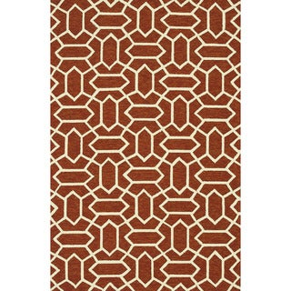 Handmade Indoor/ Outdoor Capri Rust Rug (7'6 x 9'6)