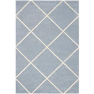 Safavieh Handmade Moroccan Blue Large Diamond Pattern Wool Rug (6' x 9')