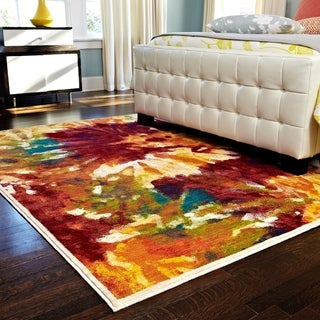 """Contemporary Orange/ Red Abstract Floral Area Rug - 7'7"""" x 10'5"""""""