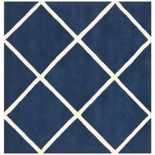 Safavieh Handmade Moroccan Dark Blue Wool Geometric Rug (7' Square)