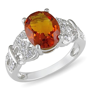 Miadora 14k White Gold Citrine and 1/8ct TDW Diamond Ring (I-J, I1-I2)