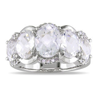 Miadora 14k Gold White Topaz and 1/8ct TDW Diamond Ring (G-H, I1-I2)