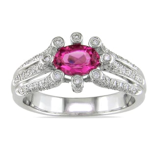 Miadora 14k Gold Pink Sapphire and 1/2ct TDW Diamond Ring (G-H, I1-I2)