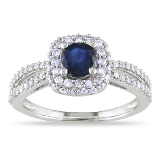 Miadora 14k White Gold Blue Sapphire and 1/2ct TDW Diamond Ring (G-H, I1-I2)