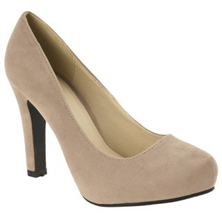 Riverberry Women's 'Brooks' Taupe Velvet Hidden Platform Pumps