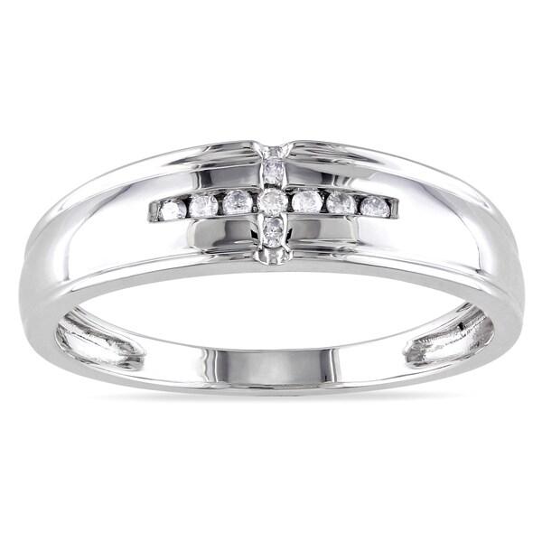 Miadora 10k Gold Men's 1/10ct TDW Diamond Wedding Band (H-I, I2-I3)